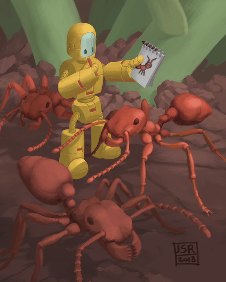 A tiny robot stands insode a group of ants. The robot holds up a sketchbook and examines a sketch of an ant.