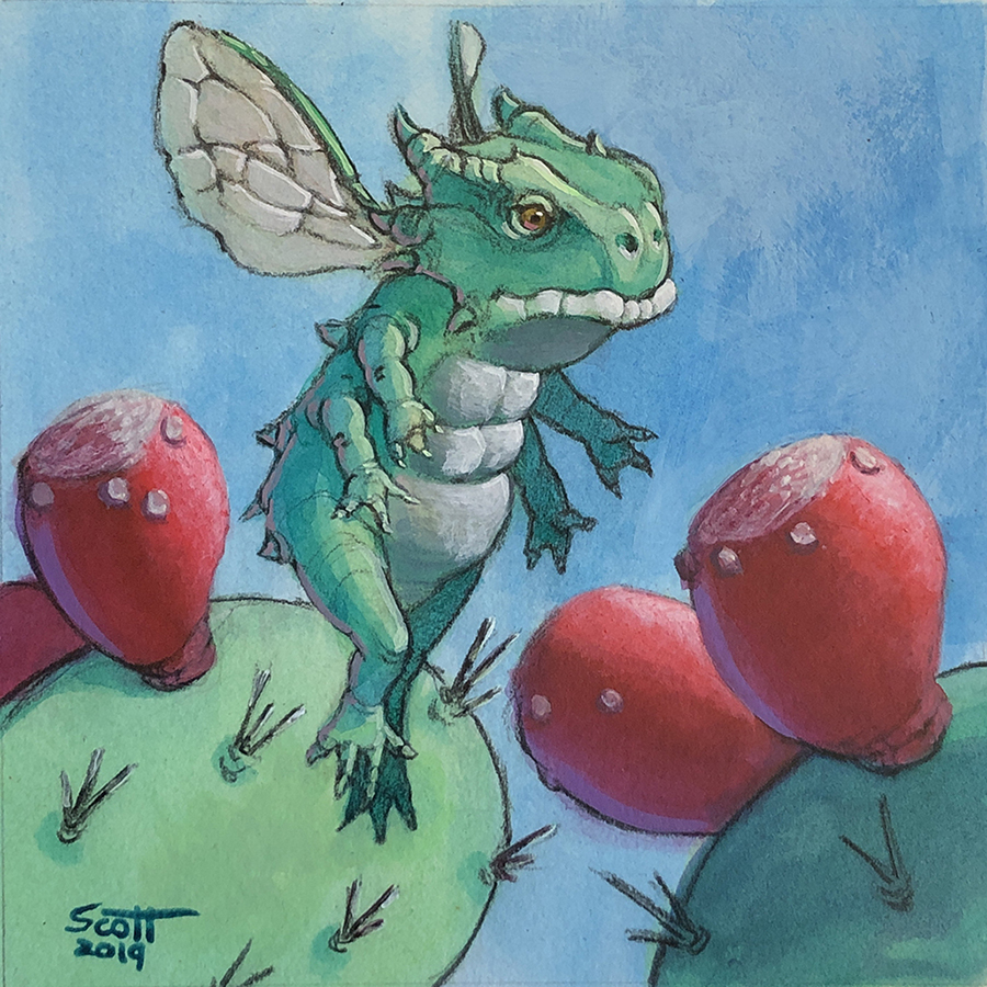 A small dragon with insect wings hovers near ripe prickly-pear fruit.