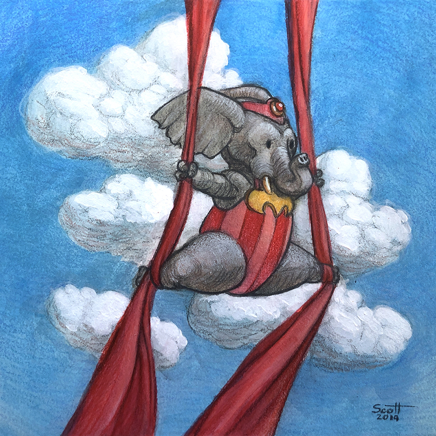 An anthromorphised elephant performs an arial silk routine. Shje wears a red and pink leotard.