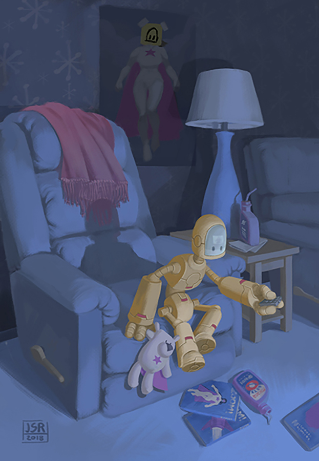 A child-sized robot sits on the edge of a recliner, holding a remote control. In one hand it holds a stuffed bear dressed a a superhero with a pink cape and a star on its belly. The same superhero appears in a poster on the wall and a pile of comics on the floor.