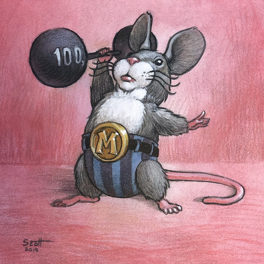 "A gray mouse dressed like an old-time circus strongman uses one hand to lift a barbell marked ""100g"""