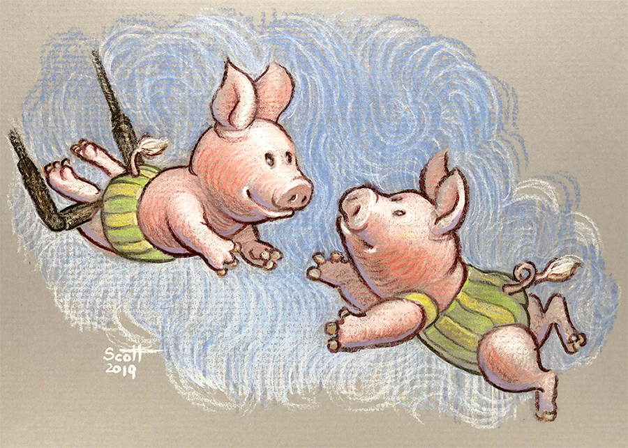 Two anthromorphized pigs perform in a trapeze act. One hangs from a trapeze by his knees and reaches out with his arms. The other flies through the ait and reaches out towards her partner.