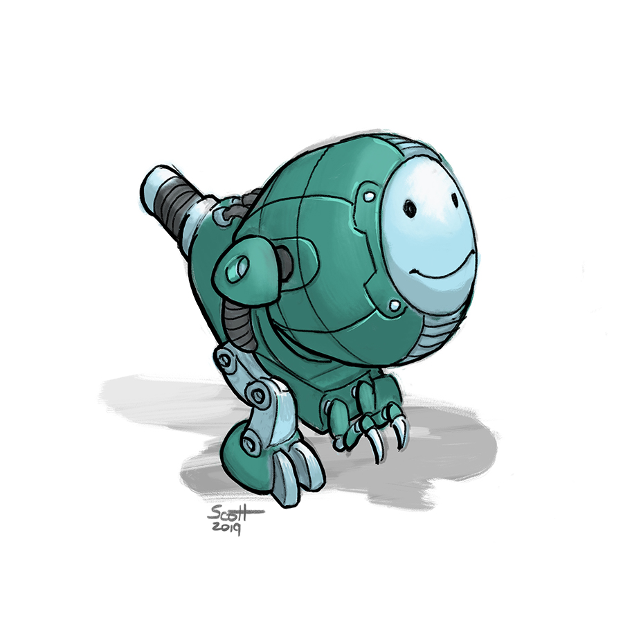 Digital illustration of a green two-legged robot with short arms and a smiling face.