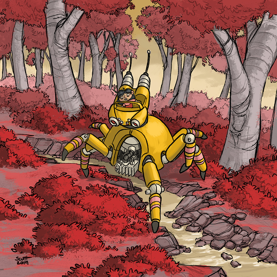 Digital illustration of a girl piloting a spider-shaped robot through a forest.
