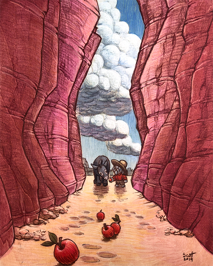 Colored pencil illustration of a small humanoid dog and a mule, standing at the entrance of a narrow canyon. A trail of applesleads into the canyon.