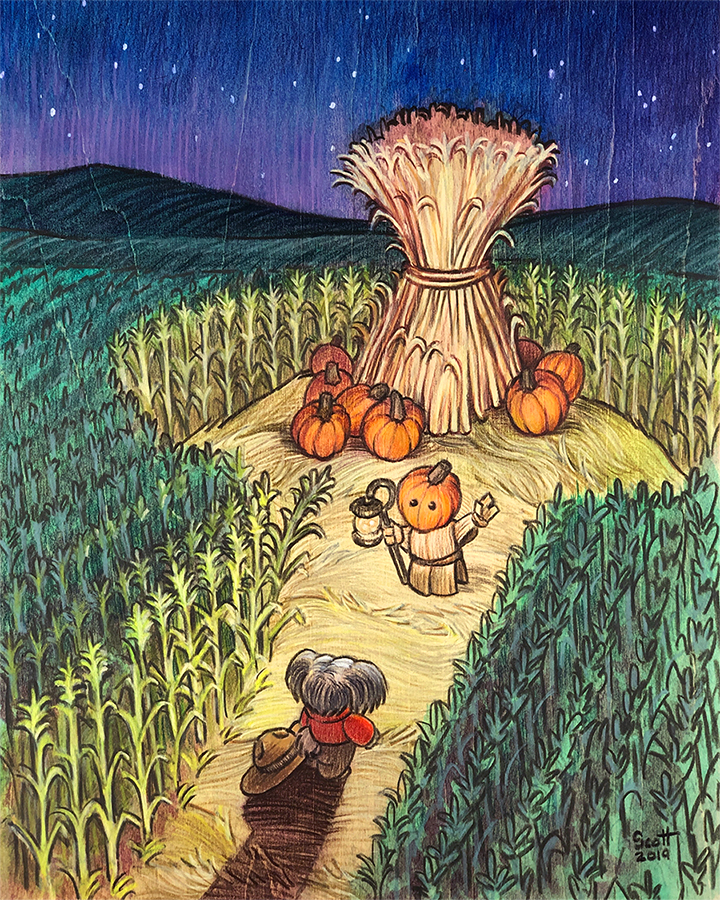 Colored pencil illustration of a small, humanoid dog meeting a pumpkin-headed spirit in the middle of a corn field.