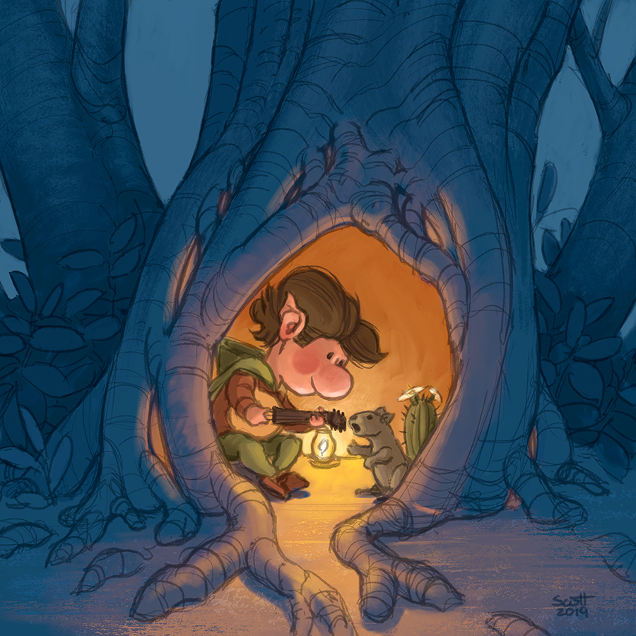 Digital illustration of a gnome and a squirrel sitting in a hollow tree. The gnome plays a lute while the squirrel sings.