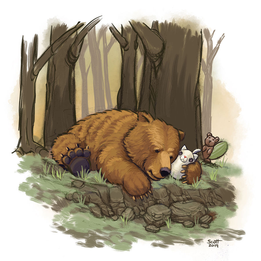Digital illustration of a bear, lying on the ground a cuddling a white plushy cat.