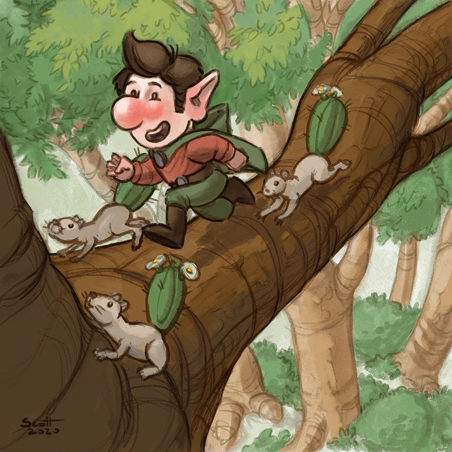 Digital illustration of a gnome running along a tree branch, accompanied by three squirrels.