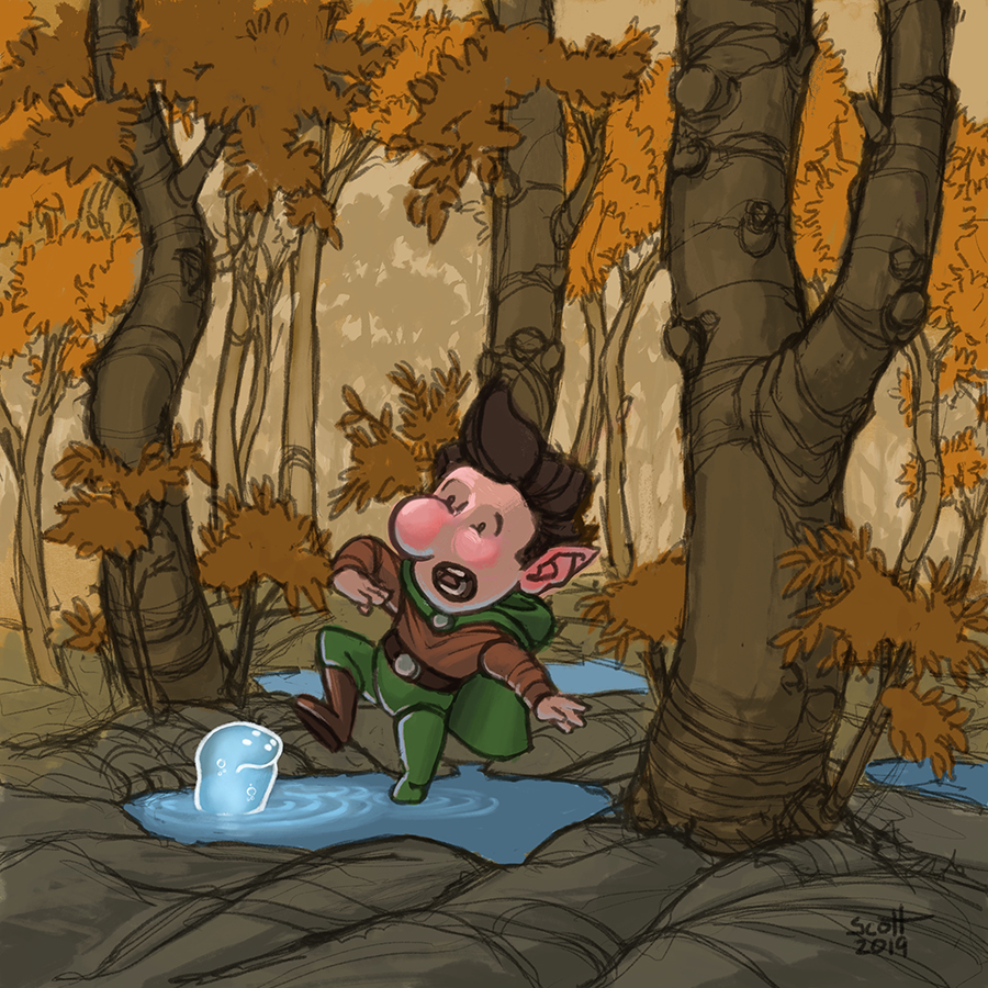 Digital illustration of a gnome standing in a pool of water, looking alarmed at a small blue creature.