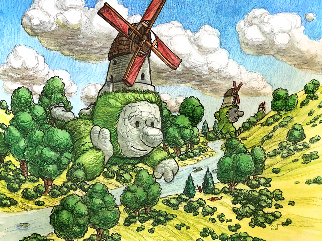 Painting of a giant with a windmill on its head.